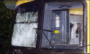 A damaged train cab at Chilworth Station, near Guildford
