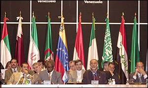 Opec officials at a recent summit in Caracas, Venezuela