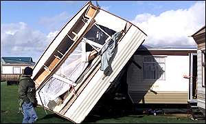 Damaged caravan at West Sands
