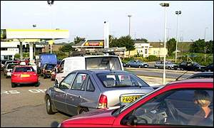 Queues at petrol pumps