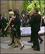[ image: Paula Yates arrives for the funeral]