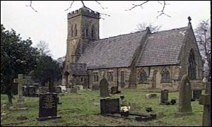 image: [ Tracey Mertens was found lying fatally injured on the steps of this Cheshire church ]