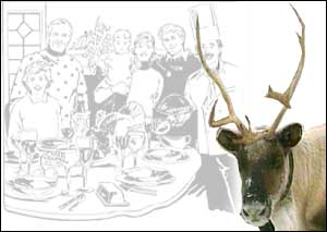 image: [ Reindeer is a traditional Christmas dinner in Scandinavia ]