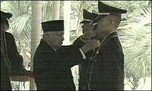 image: [ President Suharto at a recent ceremony ]