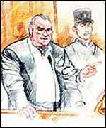 [ image: A courtroom sketch of Ramirez addressing the judge and jury]