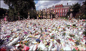 image: [ After Diana's funeral it took three weeks to clear all the bouquets from the site of the proposed garden ]