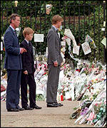 [ image: Prince Charles took his sons to see the public's floral tributes to their mother]