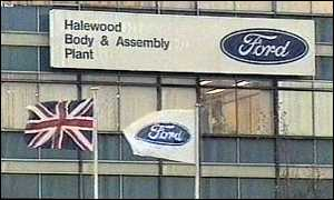 image: [ The Halewood plant, where the new Jaguar is to be produced ]