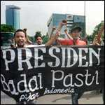 [ image: Students call for President Suharto to resign]