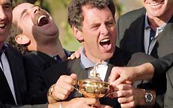 The 1995 European team celebrate with the Ryder Cup