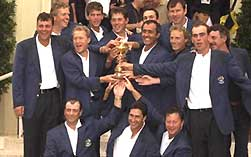 The 1997 European team celebrate with the Ryder Cup