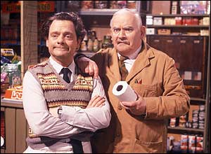 David Jason and Ronnie Barker as Granville and Arkwright in BBC sitcom Open All Hours (c) BBC