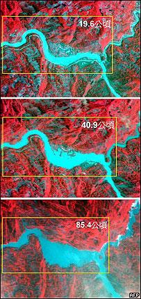 衛星圖片顯示北川縣附近的堰塞湖不斷擴大